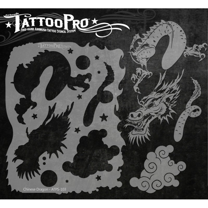 Tattoo pro chinese dragon facepaint online for Spray on tattoo stencils