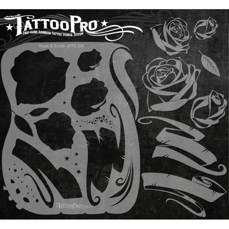 Tattoo pro roses scrolls facepaint online for Spray on tattoo stencils