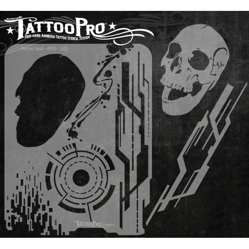 Tattoo pro electro skull facepaint online for Spray on tattoo stencils