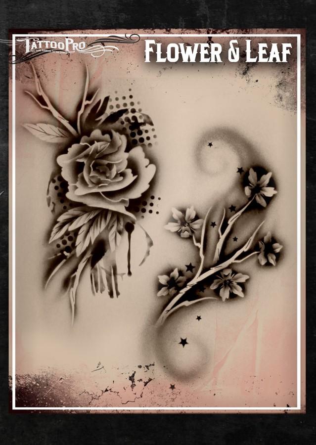 Tattoo pro flower leaf facepaint online for Spray on tattoo stencils